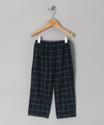 Navy & Green Plaid Pants - Infant