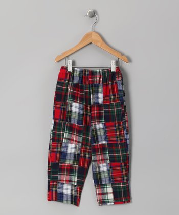 Red Patchwork Flannel Pants - Infant
