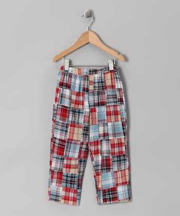 Blue & Red Patchwork Pants - Infant