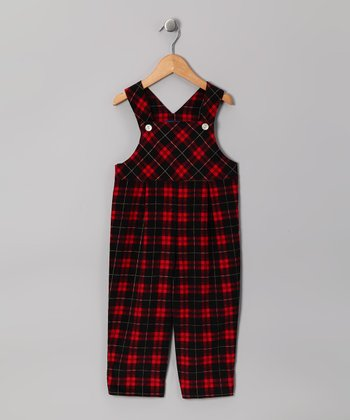Red & Black Plaid Corduroy Classic Overalls - Infant & Toddler