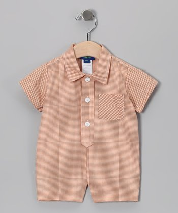 Rust Gingham Romper - Infant