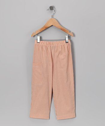 Rust Gingham Pants - Boys