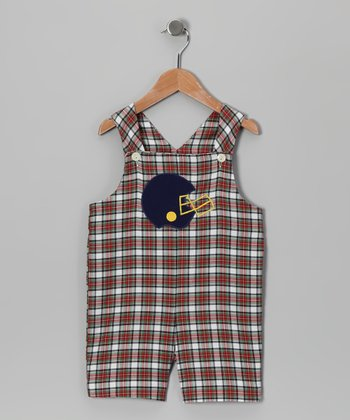Red & Green Plaid Football Helmet Shortalls - Toddler
