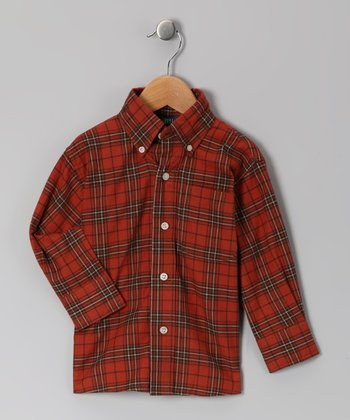 Rust Plaid Button-Up - Boys