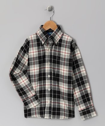 Black Plaid Button-Up - Toddler & Boys