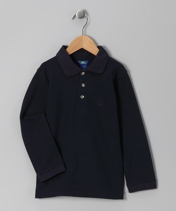 Navy Long-Sleeve Polo - Infant & Boys