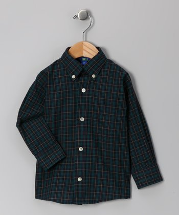 Navy Plaid Button-Up - Boys