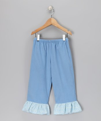 French Blue Corduroy Ruffle Pants - Toddler & Girls