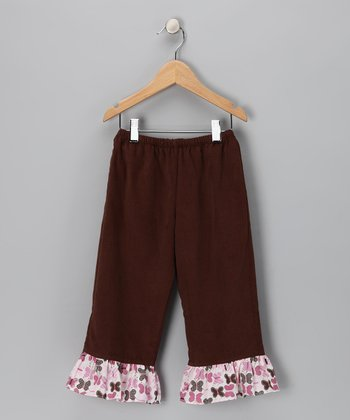 Brown Corduroy Ruffle Pants - Infant & Girls