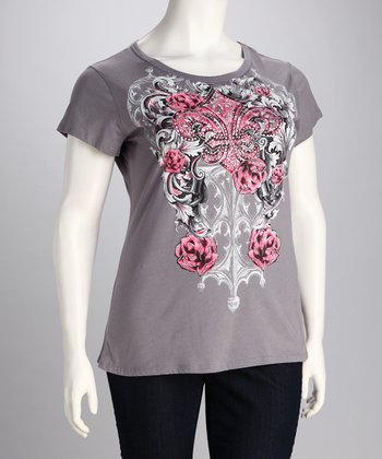 Gray Rhinestone Tattoo Tee - Plus
