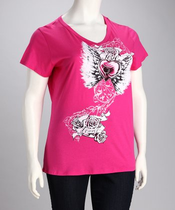 Fuchsia Rhinestone Tattoo Tee - Plus