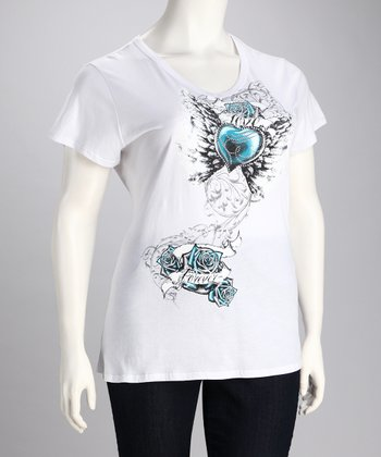White & Blue Rhinestone Tattoo Tee - Plus