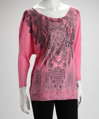 Pink Necklace Chain Dolman Tee