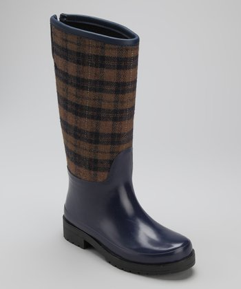 Navy & Chocolate Plaid Revere Rain Boot