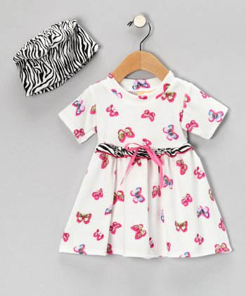 White Butterfly Velour Dolly Organic Dress & Beanie - Infant