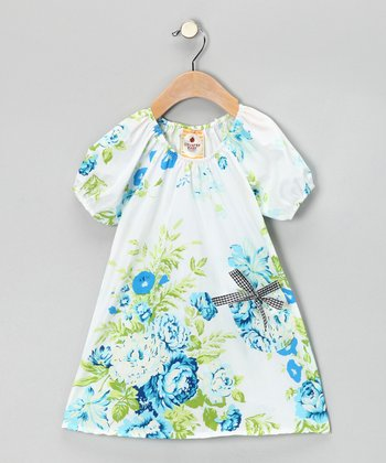 White Colorado Cabbage Roses Peasant Dress - Toddler