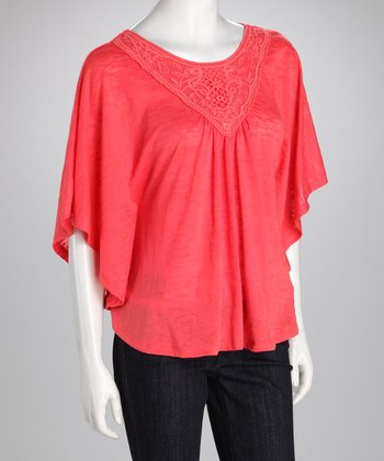 Coral Cape-Sleeve Top