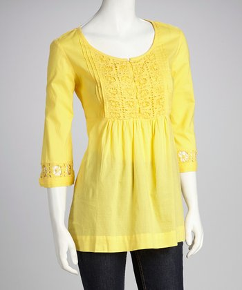 Banana Crochet Lace Empire-Waist Top