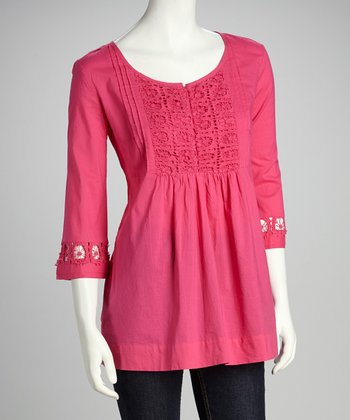 Fuchsia Crochet Lace Empire-Waist Top