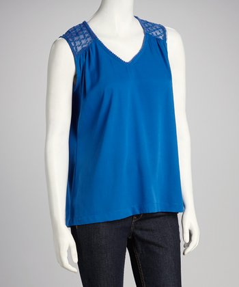 Cobalt Sheer Eyelet V-Neck Top