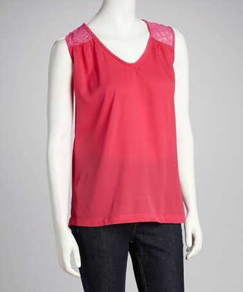 Fuchsia Sheer Eyelet V-Neck Top