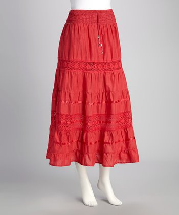 Bright Coral Crochet Lace Drawstring Skirt