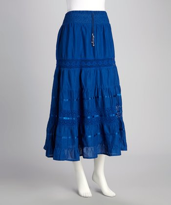Cobalt Crochet Lace Drawstring Skirt