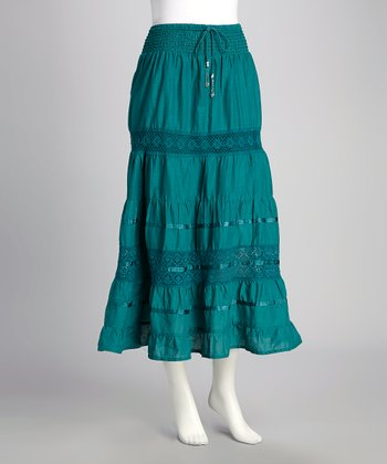 Emerald Crochet Lace Drawstring Skirt