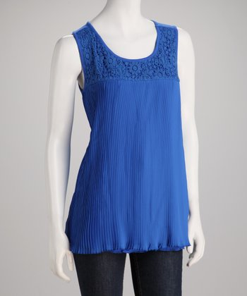 Cobalt Crochet Lace Pleated Top