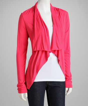 Bright Coral Open Cardigan