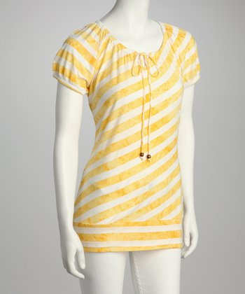 Banana & White Stripe Tie-Front Top