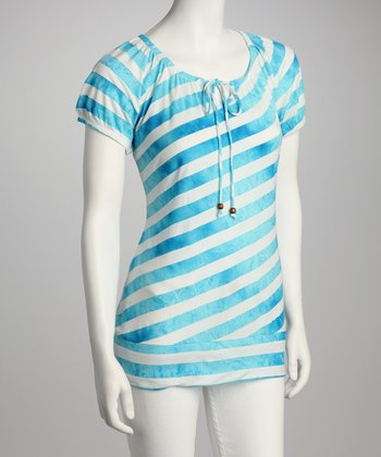Sea Foam Blue & White Stripe Tie-Front Top
