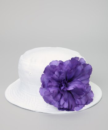 White & Purple Peony Bucket Hat