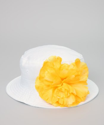 White & Yellow Peony Bucket Hat