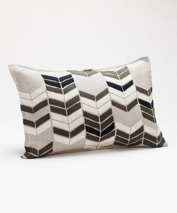 Gray Chevron Stack Linen-Wool Blend Throw Pillow