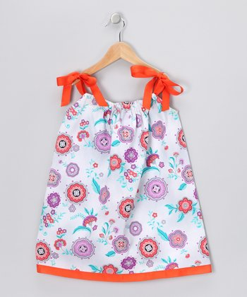 Orange Flower Swing Dress - Infant, Toddler & Girls