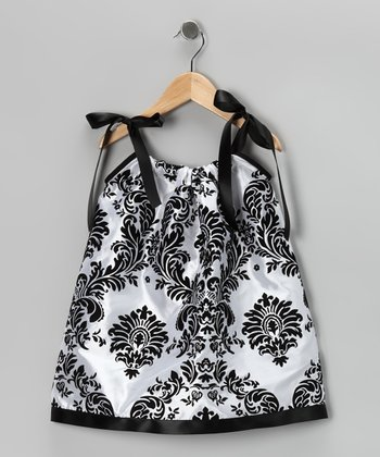 Black & White Damask Swing Dress - Infant, Toddler & Girls