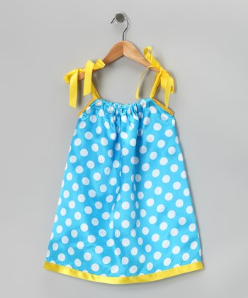 Teal & Yellow Polka Dot Swing Dress - Infant, Toddler & Girls
