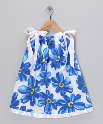 Blue & White Flower Swing Dress - Infant, Toddler & Girls