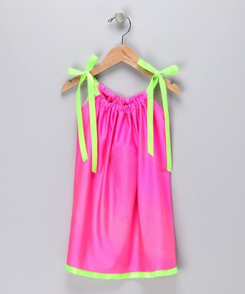 Hot Pink & Neon Green Silky Swing Dress - Infant, Toddler & Girls