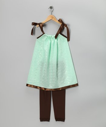 Mint Swing Dress & Brown Leggings - Infant, Toddler & Girls