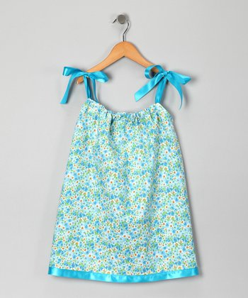 Teal Floral Field Swing Dress - Infant, Toddler & Girls