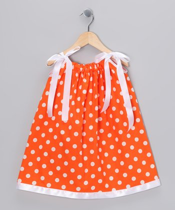 Orange & White Polka Dot Swing Dress - Infant, Toddler & Girls