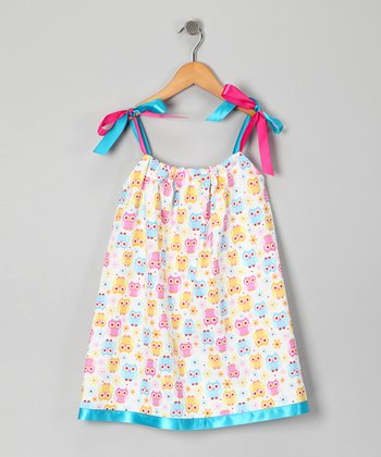 White & Pink Owl Swing Dress - Infant, Toddler & Girls