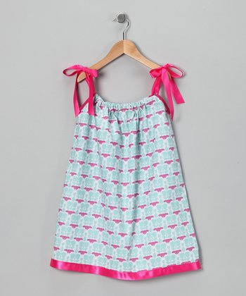 Sky Blue & Pink Lily Swing Dress - Infant, Toddler & Girls