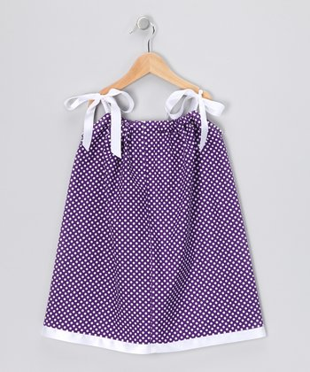 Purple & White Polka Dot Swing Dress - Infant, Toddler & Girls