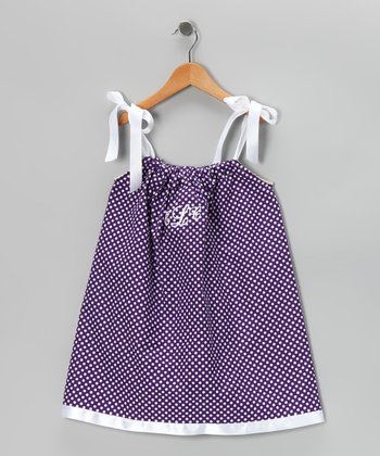 Purple & White Monogram Swing Dress - Infant, Toddler & Girls