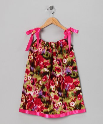 Hot Pink Floral Swing Dress - Infant, Toddler & Girls