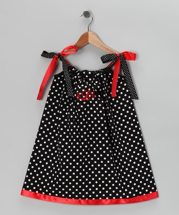 Black & Red Monogram Swing Dress - Infant, Toddler & Girls
