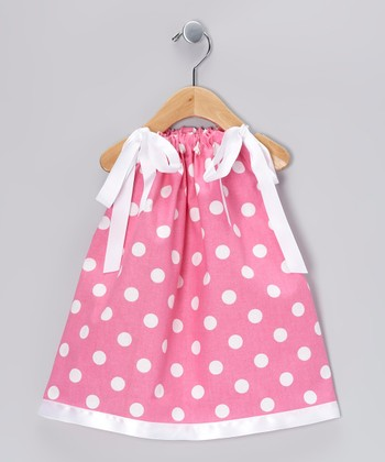 Pink & White Polka Dot Swing Dress - Infant, Toddler & Girls